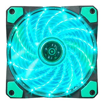 Ventilátor, zelený, 15 led, svítící, 12 cm, Marvo