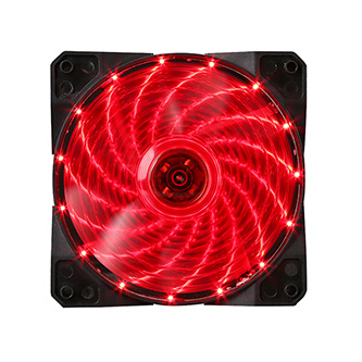 Ventilátor, červený, 15 led, svítící, 12 cm, Marvo