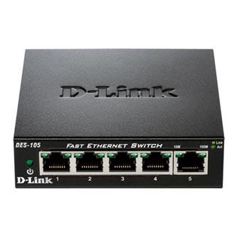 D-LINK, DES-105, mini switch, LAN, 10/100Mbps, 5-ti portový