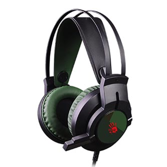 A4tech Bloody J437, sluchátka s mikrofonem, ovládání hlasitosti, zelená, 7.1 surround (virtuálně), herní sluchátka, podsvícené typ