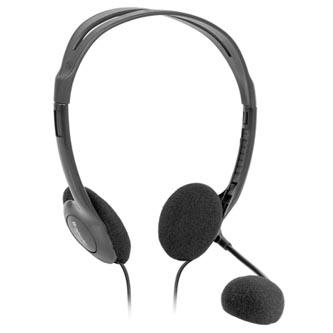 Defender Aura HN-102, sluchátka s mikrofonem, ovládání hlasitosti, černá, otevřená, 2x 3.5 mm jack