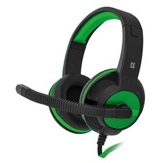 Defender Warhead G-200, herní sluchátka s mikrofonem, ovládání hlasitosti, černo-zelená, 2x 3.5 mm jack