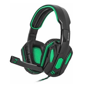 Defender Warhead G-275, sluchátka s mikrofonem, ovládání hlasitosti, černo-zelená, herní sluchátka, 2x 3.5 mm jack