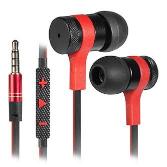 Defender Arrow, sluchátka s mikrofonem, ovládání hlasitosti, černo-červená, 2.0, špuntová, 3.5 mm jack