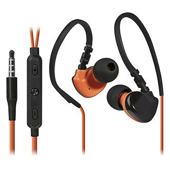 Defender OutFit W770, sluchátka s mikrofonem, ovládání hlasitosti, černo-oranžová, 2.0, špuntová, sportovní typ 3.5 mm jack
