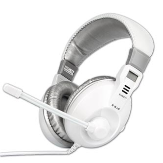 E-Blue Conqueror I., sluchátka s mikrofonem, ovládání hlasitosti, bílá, 2x 3.5 mm jack