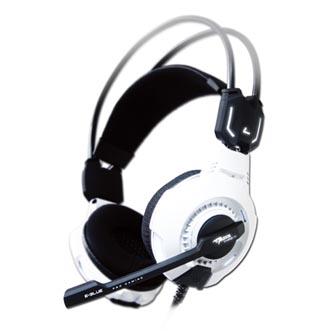 E-Blue Mazer Type X 7.1, herní sluchátka s mikrofonem, ovládání hlasitosti, bílá, 7.1 surround (virtuálně), LED podsvícení, USB
