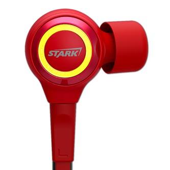 E-Blue IRON MAN EEP914, sluchátka s mikrofonem, ovládání hlasitosti, červená, s plochým kabelem, 3.5 mm jack