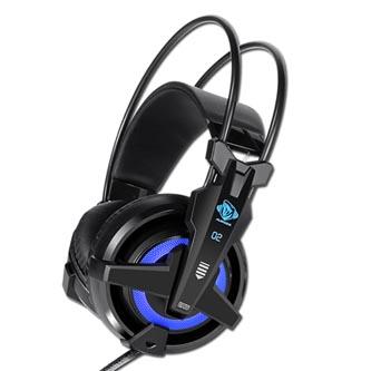 E-Blue Auroza EHS950 FPS, herní sluchátka s mikrofonem, ovládání hlasitosti, černá, 7.1 surround (virtuálně), modré podsv.,vibračn