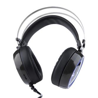 E-Blue EHS965, herní sluchátka s mikrofonem, ovládání hlasitosti, černá, podsvícené typ 3.5 mm jack + USB