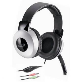 Genius HS-05A, sluchátka s mikrofonem, ovládání hlasitosti, černo-stříbrná, 2x 3.5 mm jack