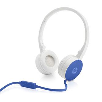 HP H2800, sluchátka s mikrofonem, ovládání hlasitosti, bílo-modrá, klasická typ 3.5 mm jack