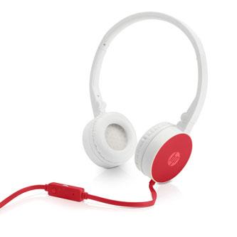 HP H2800, sluchátka s mikrofonem, ovládání hlasitosti, červená, klasická typ 3.5 mm jack