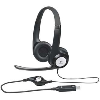 Logitech Stereo H390, sluchátka s mikrofonem, ovládání hlasitosti, černá, USB