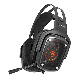 Marvo HG9046, sluchátka s mikrofonem, ovládání hlasitosti, černá, TRUE 7.1 surround, USB podsvícená