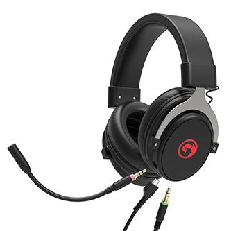 Marvo HG9052, sluchátka s mikrofonem, ovládání hlasitosti, černá, 7.1 (virtualně), červeně podsvícená, 7.1 (virtuálně) typ USB