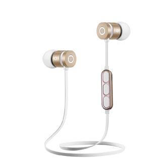 Bezdrátová bluetooth sluchátka W2, s magnetickým uchycením, mikrofon, ovládání hlasitosti, bílo-zlatá, sportovní typ bluetooth
