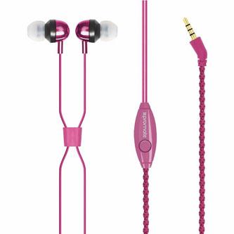 Promate Retro, sluchátka, růžová, náramek typ 3.5 mm jack