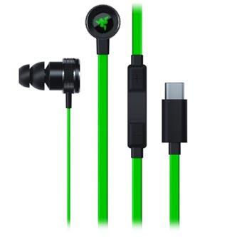 Razer Hammerhead USB-C, sluchátka s mikrofonem, ovládání hlasitosti, zelená, USB - C