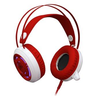 Redragon SAPPHIRE herní sluchátka s mikrofonem, s regulací hlasitosti, bílo-červená, 2x 3.5 mm jack + USB