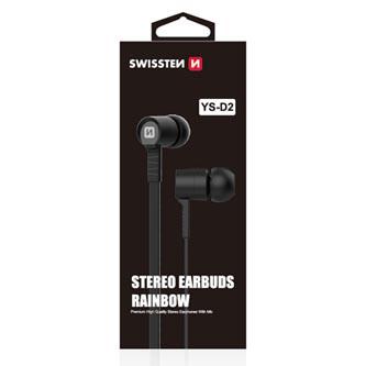 SWISSTEN YS-D2, sluchátka s mikrofonem, bez ovládání hlasitosti, černá, stereo, špuntová typ 3.5 mm jack