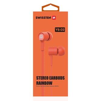 SWISSTEN, YS-D2, sluchátka s mikrofonem, bez ovládání hlasitosti, oranžová, 3.5 mm jack špuntová