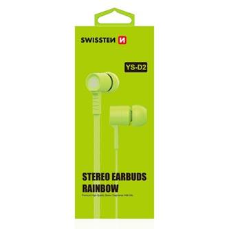 SWISSTEN, YS-D2, sluchátka s mikrofonem, bez ovládání hlasitosti, zelená, 3.5 mm jack špuntová