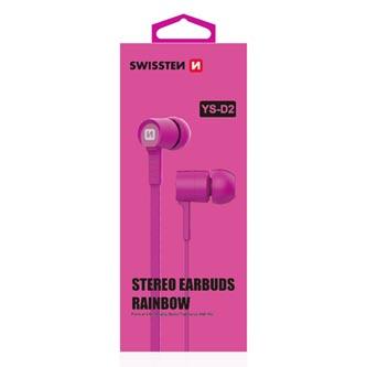 SWISSTEN YS-D2, sluchátka s mikrofonem, bez ovládání hlasitosti, růžová, 3.5 mm jack špuntová
