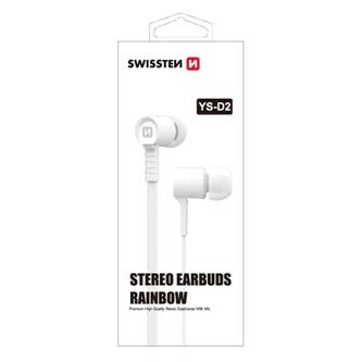 SWISSTEN YS-D2, sluchátka s mikrofonem, bez ovládání hlasitosti, bílá, 3.5 mm jack špuntová