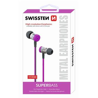 SWISSTEN YS900, sluchátka s mikrofonem, bez ovládání hlasitosti, růžová, špuntová typ 3.5 mm jack