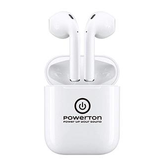 Powerton bezdrátová bluetooth sluchátka WPBTE01, s nabíjecí krabičkou, mikrofon, přepínání skladeb, bílá, 2.0, Airpods style, spor