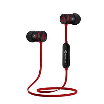 Powerton bezdrátová bluetooth sluchátka W2, s magnetickým uchycením, mikrofon, ovládání hlasitosti, černo-červená, sportovní typ b