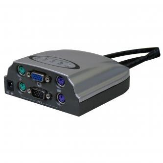 KVM přepínač, 4:1, 5x VGA/5x mouse/5x keyboard, automatický, s kabely,,  lze přepnout horkou klávesou nebo ručně