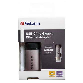 USB (3.1) hub 1-port, 49146, šedá, délka kabelu 10cm, Verbatim, adaptér USB C na Ethernet