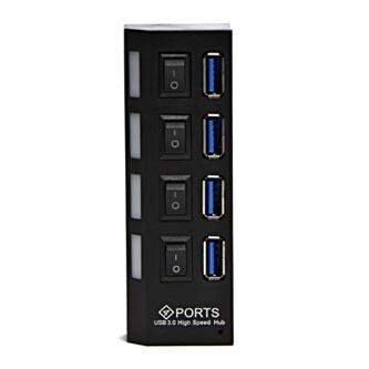 USB (3.0) hub 4-port, 310, černá, s vypínači