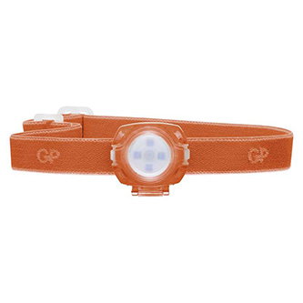 LED čelovka, 2xCR2025, plast, oranžová, 40lm, 8m, CH31