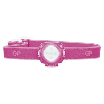 LED čelovka, 2xCR2025, plast, růžová, 40lm, 8m, CH31
