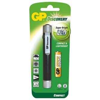 LED svítilna, 1xAAA, kovová/hliníková, černo-stříbrná, GP LCE205 + 1x AAA GP ULTRA