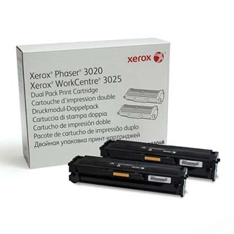 Xerox originální toner 106R03048, black, Xerox 3020B, dual pack, O