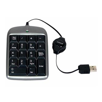 A4Tech klávesnice TK-5, numerická, černo-stříbrná, drátová (USB), CZ, vysouvací kabel