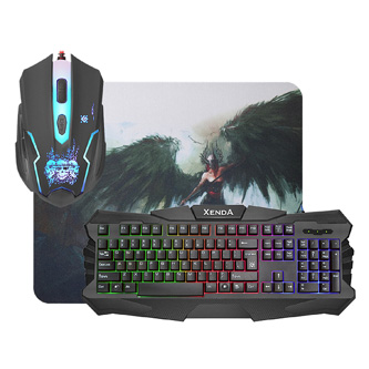 Defender Xenda MKP-008, Sada klávesnice s herní myší a herní podložkou, US, herní, membránová typ drátová (USB), černá, podsvícená