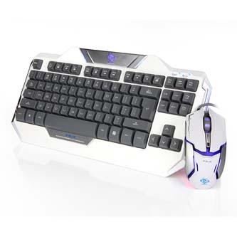 E-BLUE Sada klávesnice Auroza, herní, bílá, drátová (USB), US, s optickou herní myší