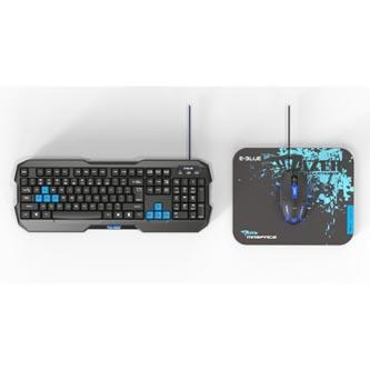 E-BLUE Polygon, Sada klávesnice s myší Cobra II, US, herní, a podložkou Mazer Marface S typ drátová (USB), černo-modrá
