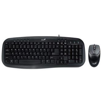 Genius Sada klávesnice KM-210, multimediální, černá, drátová (USB), CZ, s drátovou optickou myší