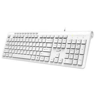 Genius Slimstar 230, Klávesnice CZ/SK, klasická, drátová (USB), bílá