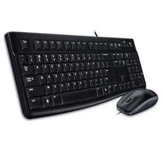 Logitech MK120, Sada klávesnice s drátovou optickou myší, CZ, klasická, drátová (USB), černá