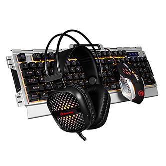 Marvo CM303, Sada klávesnice s herní myší a sluchátky, US, herní, membránová typ drátová (USB), černo-stříbrná, podsvícená