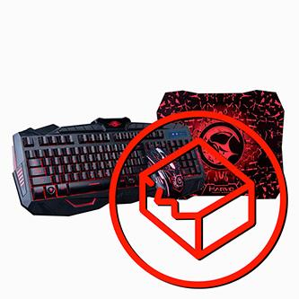 Marvo KM400, Sada klávesnice s herní myší a podložkou, US, herní, membránová typ drátová (USB), černá, podsvícená, poškozený obal