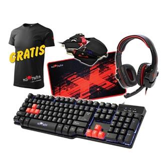 RED FIGHTER Sada klávesnice herní, černá, drátová (USB), US, s herní myší, sluchátky a podložkou, 3 barvy podsvícení