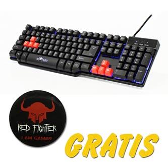 RED FIGHTER Klávesnice K1, herní, černá, drátová (USB), US, podsvícená, s dárkem, 3 barvy podsvícení